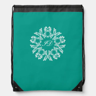 FLORAL | white and turquoise with monogram Drawstring Bag