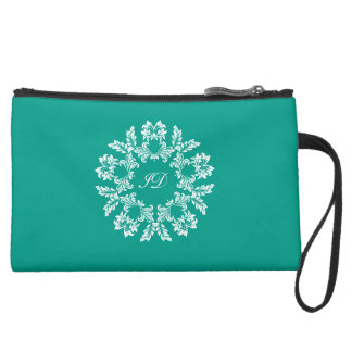 FLORAL | white and turquoise with monogram Wristlet Purse