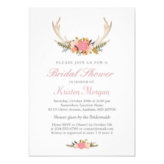 Floral White Antler Boho Chic Bridal Shower Card