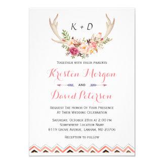 Floral White Antler Ethnic Boho Decor Wedding 13 Cm X 18 Cm Invitation Card