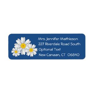 Floral White Daisy Flower Blue Return Address Return Address Label