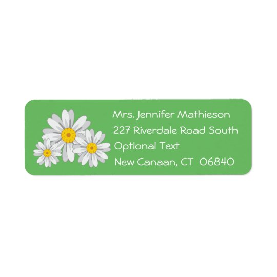 Floral White Daisy Flower Green Return Address