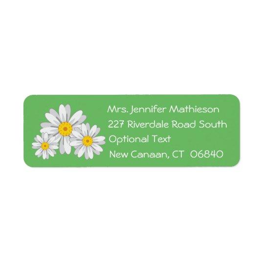 Floral White Daisy Flower Green Return Address Return