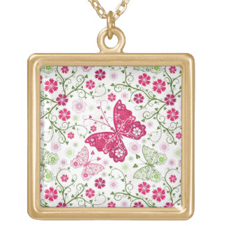 Floral White Pattern Gold Plated Necklace