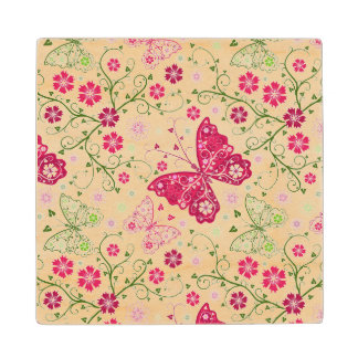Floral White Pattern Wood Coaster