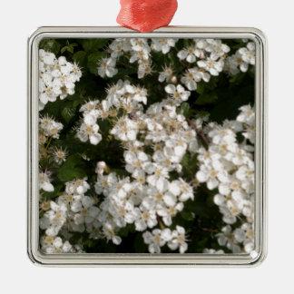 Floral White Silver-Colored Square Decoration