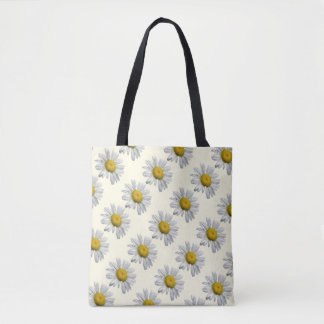 Floral White Yellow Daisy Garden Flower Tote Bag