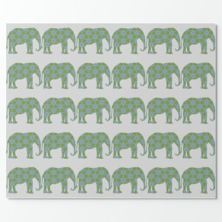 Floral Wild Elephant Wrapping Paper