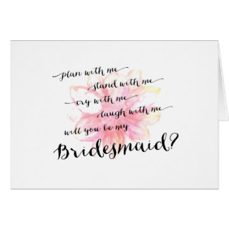 Floral Will You Be My Bridesmaid Wedding Day Greeting Card