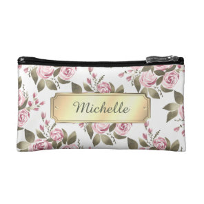 Floral Wine Rose Watercolor with Name Makeup Bag