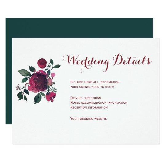 Floral winter burgundy wedding guest details card