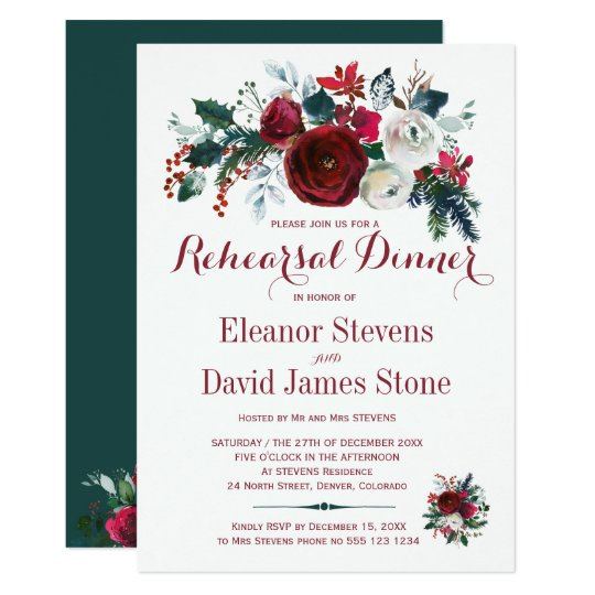 Floral winter red white wedding rehearsal dinner card
