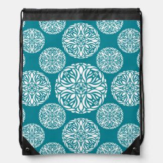 Floral winter snowflake drawstring bag
