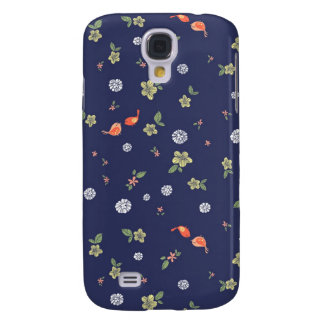 Floral with Birdies on Blue Galaxy S4 Case