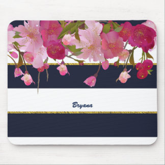 Floral with Faux Gold Glitter Modern Chic Glam Mouse Pad