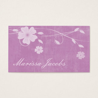 Floral with Grunge Background Pink Business Card