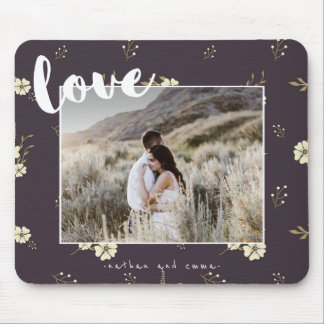Floral with Love Typography Photo Mouse Mat