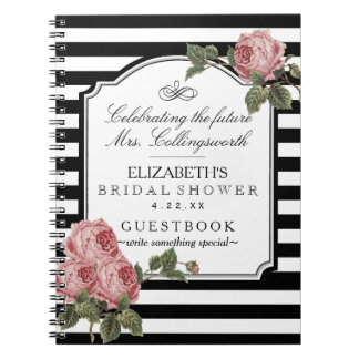 Floral With Stripes Girly Bridal Shower Guestbook Note Book