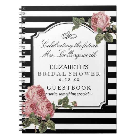Floral With Stripes Girly Bridal Shower Guestbook Notebook