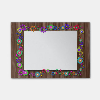 Floral Wooden Frame Post It Notes