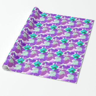 Floral wrapping paper, turquoise, violet, white wrapping paper