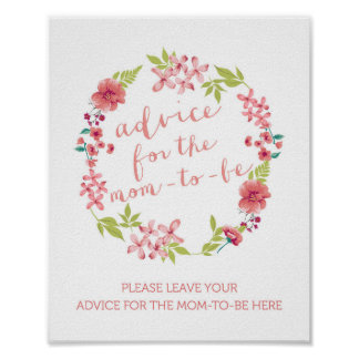 Floral Wreath Advice for the Mum-to-Be Sign