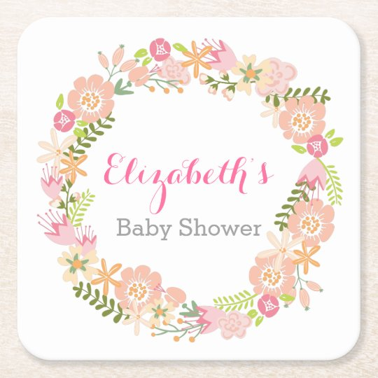 Floral Wreath Baby Shower Coasters