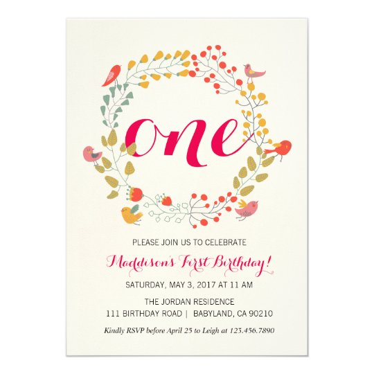 Floral Wreath Baby's First Birthday invitation
