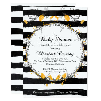 Floral Wreath, Black Yellow Baby Shower Invitation