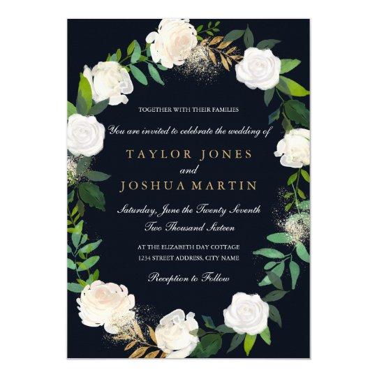 Floral Wreath Blush Navy Gold Wedding Invitation