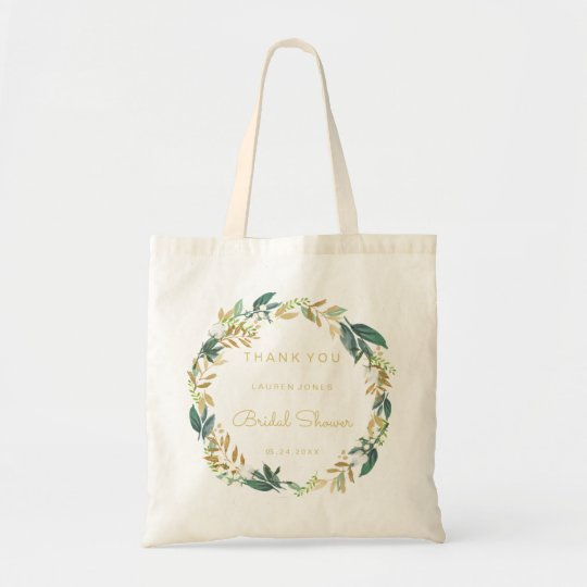 Floral Wreath Bridal Shower Gift Tote Bag