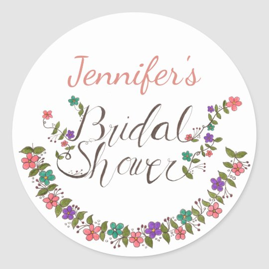 Floral Wreath Bridal Shower With Name Round Sticker