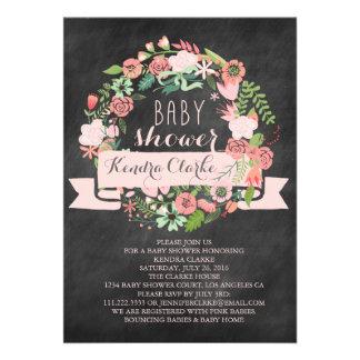 FLORAL WREATH CHALKBOARD BABY SHOWER INVITATION