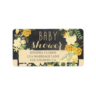 FLORAL WREATH CHALKBOARD BABY SHOWER LABELS