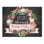 FLORAL WREATH CHALKBOARD BRIDAL SHOWER INVITATION POSTCARDS