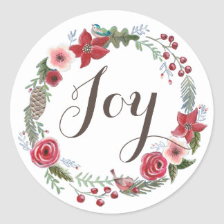 Floral Wreath Christmas Birds | Round Sticker