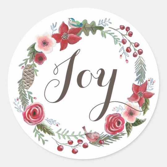 Floral Wreath Christmas Birds | Round Sticker