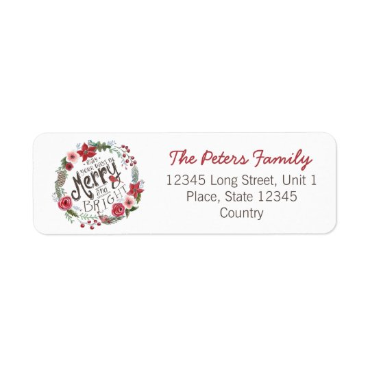 Floral Wreath Christmas | Return Address Labels