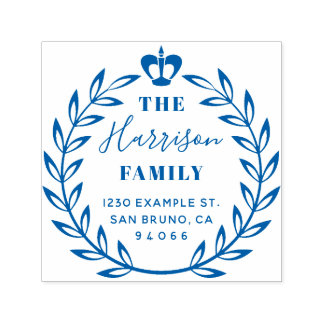 Floral Wreath & Crown Family Name Return Address Self-inking Stamp