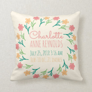 Floral Wreath Custom Birth Announcement Cushion