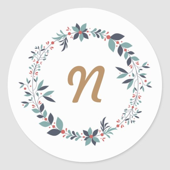 Floral wreath custom monogram classic round sticker