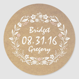 Floral Wreath Cute Vintage Wedding Stickers