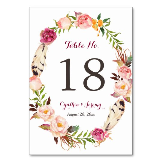 Floral Wreath Feather Boho Wedding Table Number