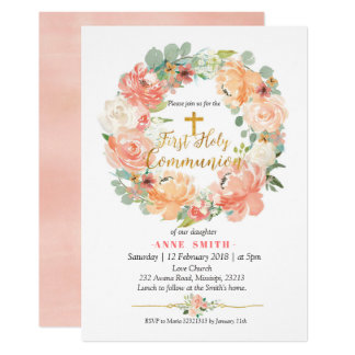 Floral Wreath First Holy Communion Invitation