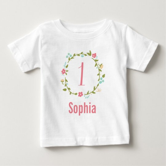 Floral Wreath Girl 1st Birthday Personalised Baby T-Shirt