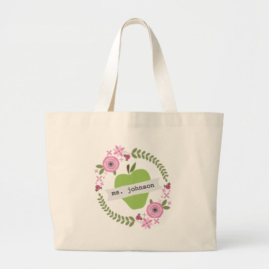 Floral Wreath Green Apple Personalised Teacher Large Tote