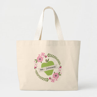Floral Wreath Green Apple Personalized Teacher Large Tote Bag