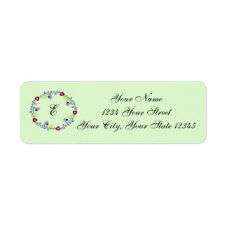 Floral Wreath Initial Address Label