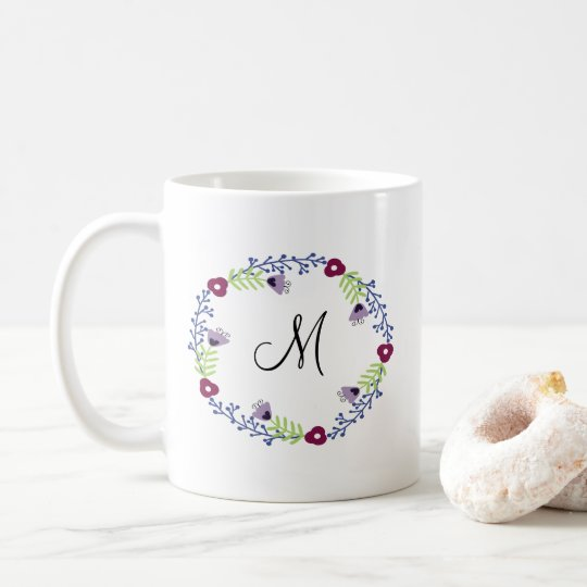 Floral Wreath Initial Coffee Mug