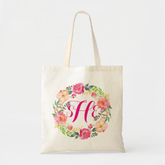Floral Wreath Monogram Bridesmaid-2 Tote Bag